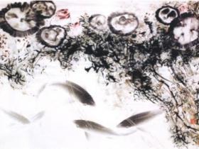 """第三世多杰羌佛画作""""莲塘鲤鱼""""与""""灵猫""""复制品限量版拍卖创最高纪录"""